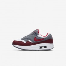 Nike Air Max 1 Lifestyle Shoes For Boys White/Cool Grey/Team Red/University Red 573YKAHT