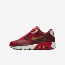 Nike Air Max 90 Leather Lifestyle Shoes For Boys Game Red/Team Red/Sail/Elemental Gold 336OEJYB