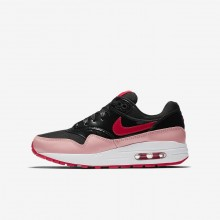Nike Air Max 1 QS Lifestyle Shoes For Girls Black/Bleached Coral/Speed Red 733BHTOS