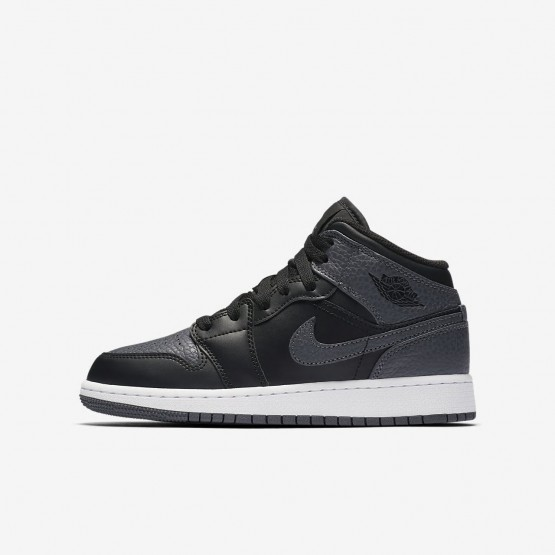 Zapatillas Casual Nike Air Jordan 1 Mid Niño Negras/Blancas/Gris Oscuro 232AUFID