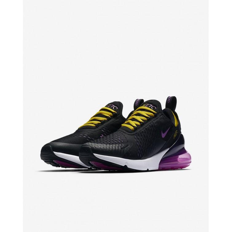 ce5a39090e ... Nike Air Max 270 Lifestyle Shoes Mens Black/Hyper Grape/Tour Yellow/ Hyper