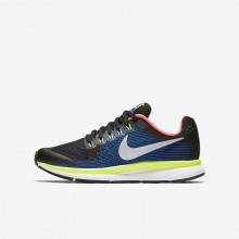 Nike Zoom Pegasus 34 Running Shoes For Boys Black/Volt/Racer Blue/Chrome 367NMELI