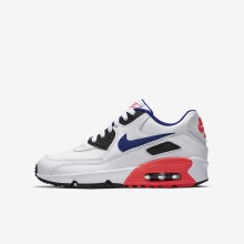 Nike Air Max 90 Leather Lifestyle Shoes For Boys White/Solar Red/Black/Ultramarine 667NITVK
