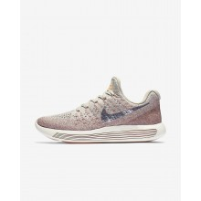 Nike LunarEpic Low Flyknit 2 Running Shoes For Women Pale Grey/Sunset Glow/Taupe Grey/Metallic Silver 662FROEJ