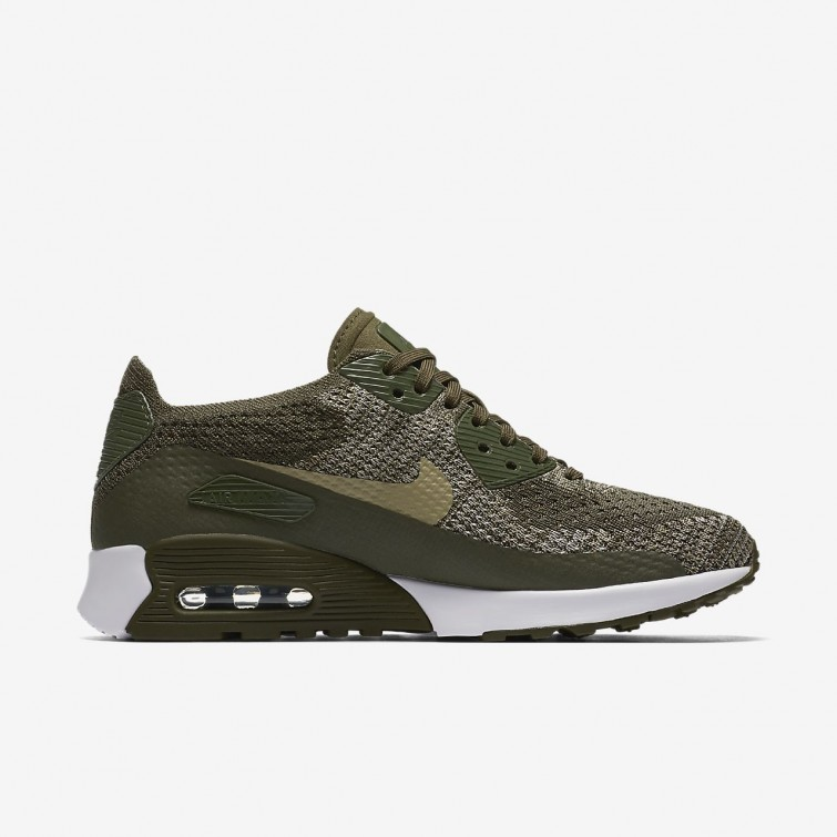 new product 3c788 dd8fd ... Nike Air Max 90 Ultra 2.0 Flyknit Lifestyle Shoes For Women Cargo  Khaki White  ...