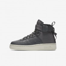 Nike SF Air Force 1 Mid Lifestyle Shoes For Boys Dark Grey/Light Bone 608KXPMB