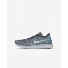 Nike Free RN Flyknit 2017 Running Shoes For Boys Blue Fox/Wolf Grey/White/Pure Platinum 188PIOUM
