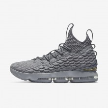Nike LeBron 15 Basketball Shoes For Women Wolf Grey/Cool Grey/Metallic Gold 423LTDON
