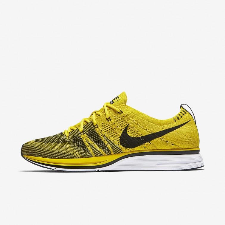 9d0c84e07956 Nike Flyknit Trainer Lifestyle Shoes Mens Bright Citron White Black 155TEYCZ