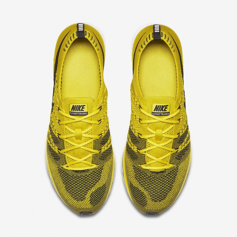 66b1dc018056 ... Nike Flyknit Trainer Lifestyle Shoes Mens Bright Citron White Black  155TEYCZ ...