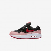 Nike Air Max 1 QS Lifestyle Shoes For Girls Black/Bleached Coral/Speed Red 950VXGKD