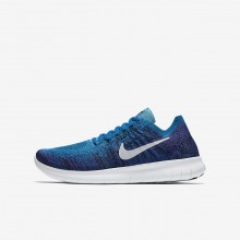 Nike Free RN Flyknit 2017 Running Shoes For Boys Blue Orbit/Black/Hyper Grape/Pure Platinum 589NJWQG