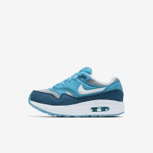 Nike Air Max 1 Lifestyle Shoes For Boys Wolf Grey/Light Blue Fury/Blue Force/White 903USQBA
