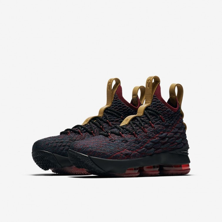 47ec8aa6844 ... Nike LeBron 15 Basketball Shoes For Boys Dark Atomic Teal Team  Red Muted Bronze
