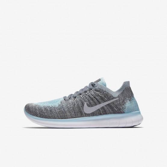 Nike Free RN Flyknit 2017 Running Shoes For Boys Metallic Silver/Cool Grey/Dark Grey/Reflect Silver 226CFBRZ