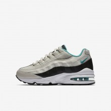 Nike Air Max 95 Lifestyle Shoes For Boys Light Bone/Black/White/Sport Turquoise 357SXRBO