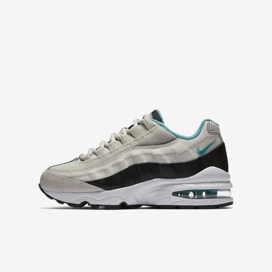 Nike Air Max 95 Lifestyle Shoes For Boys Light Bone/Black/White/Sport Turquoise 357SXRBO