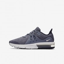 Nike Air Max Sequent 3 Running Shoes For Boys Obsidian/Dark Obsidian/White/Metallic Dark Grey 946SDXPW