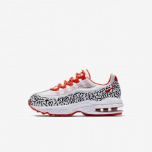 Nike Air Max 95 QS Lifestyle Shoes For Boys White/Black/Bright Crimson 473YIENT