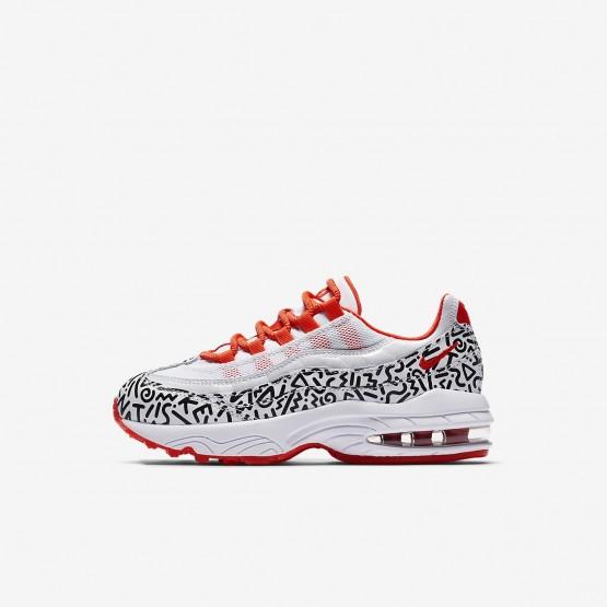 Nike Air Max 95 QS Lifestyle Shoes For Boys White/Black/Bright Crimson 473YIENT