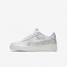 Nike Air Force 1 Pinnacle QS Lifestyle Shoes For Boys Summit White/Habanero Red/Kinetic Green 440LUFVX
