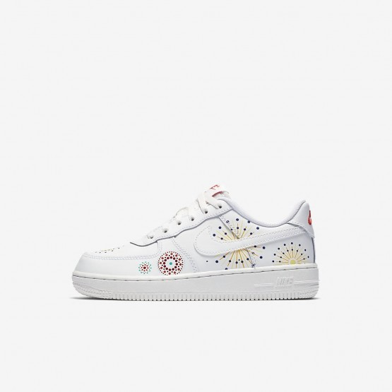 Nike Air Force 1 Pinnacle QS Lifestyle Shoes For Boys Summit White/Habanero Red/Kinetic Green 744QDKBI