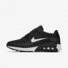Zapatillas Casual Nike Air Max 90 Ultra 2.0 Flyknit Mujer Negras/Gris Oscuro/Blancas 877MVUSN