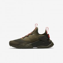 Nike Huarache Run Drift Lifestyle Shoes For Boys Medium Olive/Sequoia/Total Crimson 884YBIKP