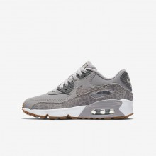 Nike Air Max 90 SE Leather Lifestyle Shoes For Girls Atmosphere Grey/White/Gum Light Brown/Gunsmoke 761VSUKQ