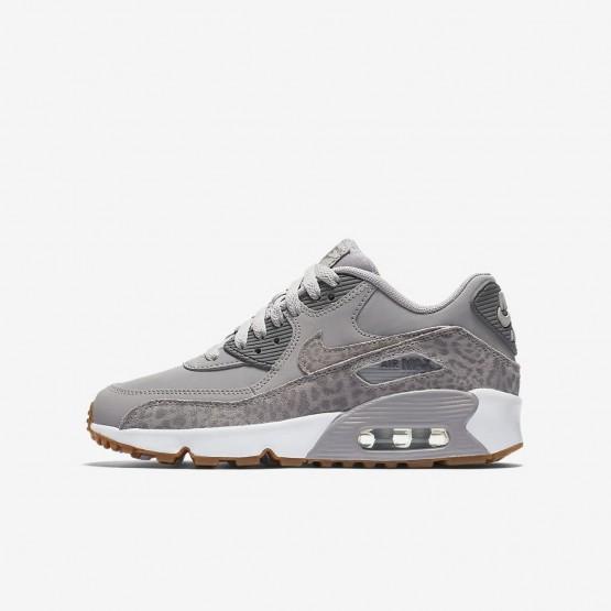 Nike Air Max 90 SE Leather Lifestyle Shoes For Girls Atmosphere Grey/White/Gum Light Brown/Gunsmoke 761VSUKQ