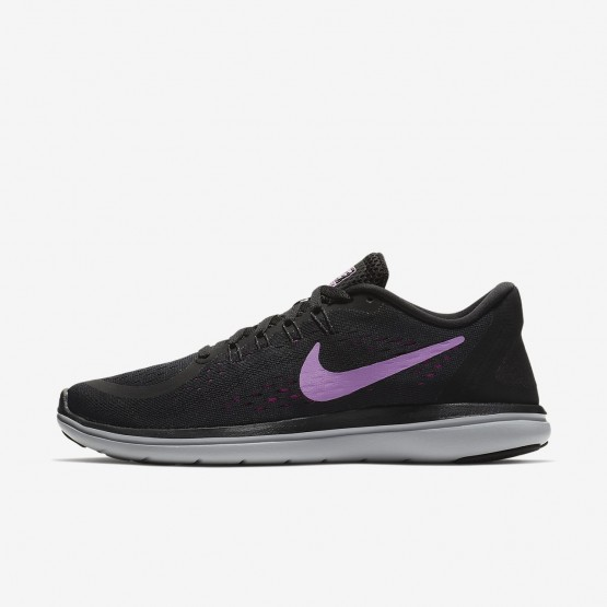 Nike Flex 2017 RN Running Shoes For Women Black/Hyper Magenta/Wolf Grey/Fuchsia Glow 621GXLIU