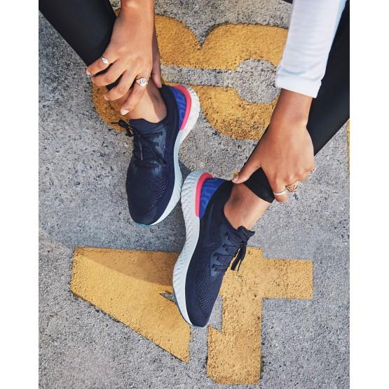 Nike Epic React Flyknit Hardloopschoenen Dames Donkerblauw/Blauw/Roze 902MLCKG