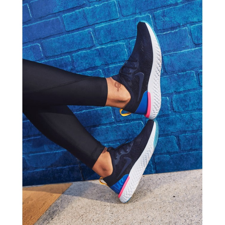8ca7af9b46065 ... Nike Epic React Flyknit Running Shoes For Women College Navy Racer Blue Pink  Blast ...