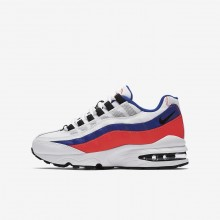 Nike Air Max 95 Lifestyle Shoes For Boys White/Solar Red/Ultramarine/Black 342NIQSJ