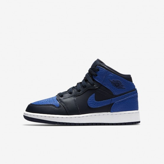 Nike Air Jordan 1 Mid Casual Schoenen Jongens Obsidian/Wit/Koningsblauw 366QICLP