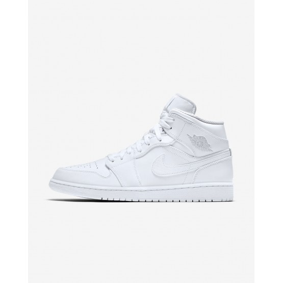 Zapatillas Casual Nike Air Jordan 1 Mid Hombre Blancas/Plateadas 685UIRVQ