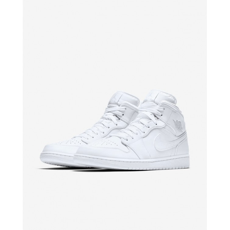 e94f475546c042 ... Nike Air Jordan 1 Mid Lifestyle Shoes For Men White Pure Platinum  989IQXCG