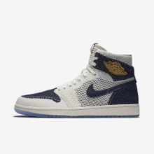 Nike Air Jordan 1 Retro High Flyknit Jeter Lifestyle Shoes For Men Sail/Midnight Navy/Metallic Gold 791MKXOT