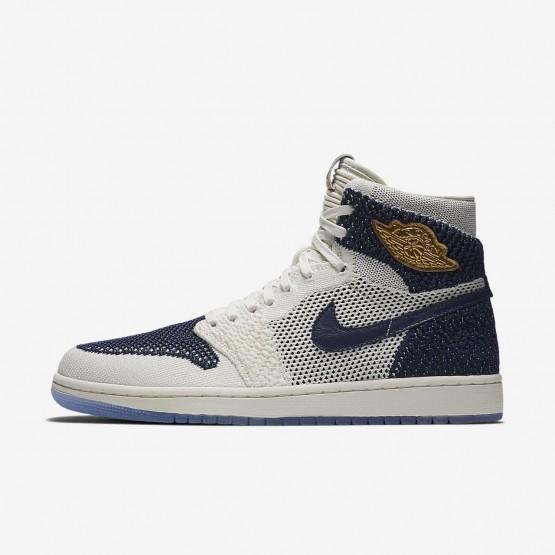 Nike Air Jordan 1 Retro High Flyknit Jeter Casual Schoenen Heren Donkerblauw/Metal Goud 377KTLUJ