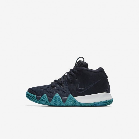 Nike Kyrie 4 Basketball Shoes For Girls Dark Obsidian/Black 723UYJMF