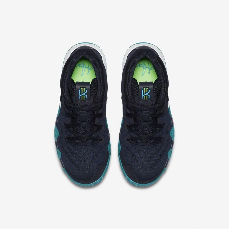 3b87bdfa4e0 ... Nike Kyrie 4 Basketball Shoes For Girls Dark Obsidian Black 723UYJMF