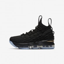Nike LeBron 15 Basketball Shoes For Boys Black/Metallic Gold 780FYQAT