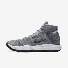 Nike React Hyperdunk 2017 Flyknit Basketball Shoes For Women Cool Grey/Pure Platinum/White/Anthracite 689WPMRH