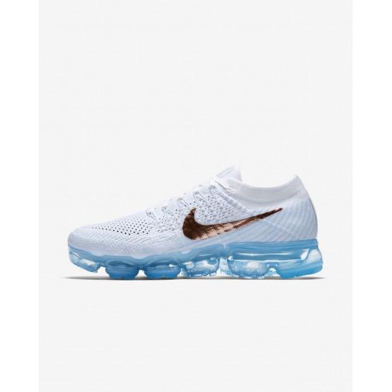 Zapatillas Running Nike Air VaporMax Flyknit Explorer Mujer Blancas/Azules/Plateadas/Metal Rojas 256JBUSH