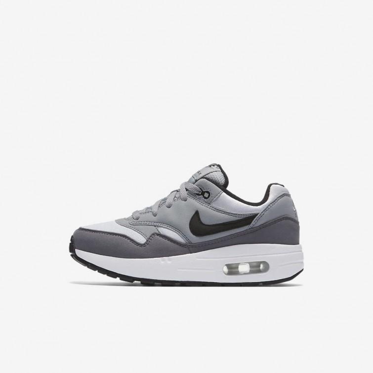 new york be39a 3f56d Nike Air Max 1 Lifestyle Shoes For Boys White Wolf Grey Gunsmoke Black