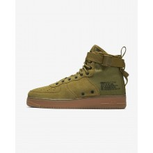 Nike SF Air Force 1 Mid Lifestyle Shoes For Men Desert Moss/Gum Medium Brown/Black 586GEXKU
