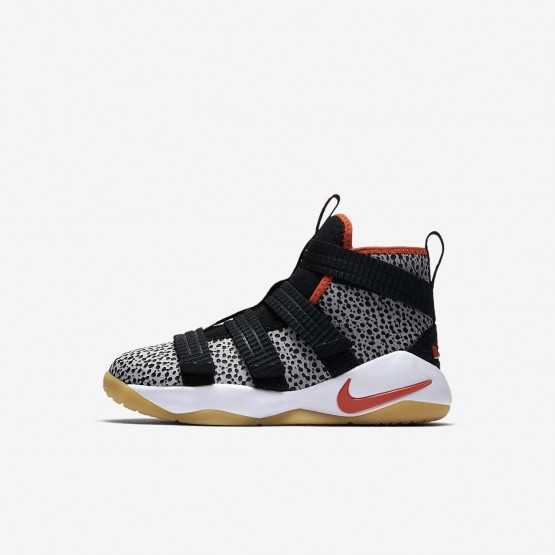 Nike LeBron Soldier XI SFG Basketball Shoes For Boys Black/White/Team Orange 545JELNQ