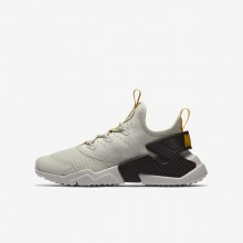 Nike Huarache Run Drift Lifestyle Shoes For Boys Light Bone/Velvet Brown/Vivid Sulfur 121KFAJQ