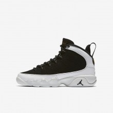 Nike Air Jordan 9 Retro Lifestyle Shoes For Boys Black/Summit White/Metallic Gold 214LCXSR