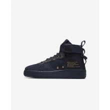 Nike SF Air Force 1 Mid Lifestyle Shoes For Boys Obsidian/Black 807VNOIU